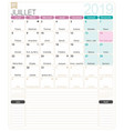 french calendar - july 2019 vector image vector image