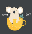 funny koala sitting in a tea cup vector image vector image