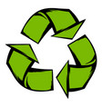 green recycle symbol icon cartoon vector image vector image