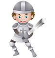 handsome knight in armour suit holding sword vector image vector image