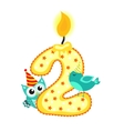 Happy Second Birthday Candle and Animals Isolated vector image vector image