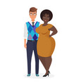 happy smiling young interracial couple character vector image vector image