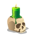 Human skull and a green burning candle on it vector image vector image
