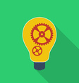 Idea icon Bulb with gears Modern Flat style with a vector image vector image