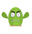 isolated angry cactus character vector image vector image