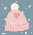 knitted rose cap with a pompom snowflakes and vector image