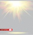 lens flare light effect sun rays with beams vector image vector image