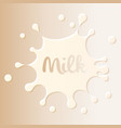 milk stain logo white blot on milky color vector image