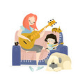 mother playing guitar vector image vector image