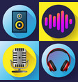 musical icons set flat style - old microphone vector image
