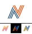 n letter formed by parallel lines design template vector image vector image