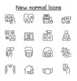 new normal lifestyle icon set in thin line style vector image vector image