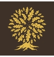 oak tree silhouette isolated on brown background vector image vector image