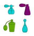 old fashion perfume icon set color outline style vector image