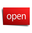 open red square isolated paper sign on white vector image vector image