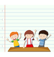 Paper design with three children vector image