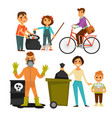 people removing garbage on street ecology vector image vector image