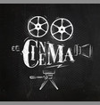 poster movie camera chalk vector image vector image