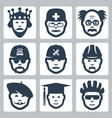 profession icons set king doctor scientist vector image
