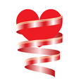 red heart with ribbon - valentines day card vector image