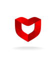 Red shield with heart shape Color triangles style