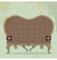 Retro brown leather sofa heart shaped vector image vector image