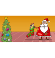 Santa and christmas sock cartoon card vector image vector image