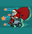 santa claus is an active wheelchair user disabled vector image vector image