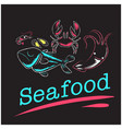 seafood shrimp shell crab fish background i vector image vector image