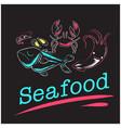 seafood shrimp shell crab fish background i vector image
