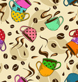 Seamless pattern of coffee cups vector image vector image