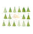 set green christmas tree doodles on white vector image