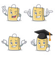 set of bag character with two finger wink vector image vector image