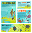 sport fishing banner with fisherman and fish catch vector image vector image