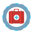 sticker red first aid kit medications tools vector image vector image
