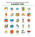 summer time flat line icon set - business concept vector image