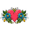 tattoo heart decorated ribbon flowers leaves vector image vector image