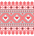Traditional folk art knitted red embroidery patter vector image vector image