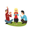 two men and girl playing cards friends having vector image vector image