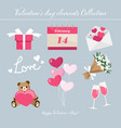 valentines day elements collection vector image vector image
