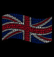 waving united kingdom flag mosaic of usa text vector image