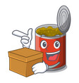 with box metal food cans on a cartoon vector image