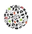 smoking icons in circle vector image