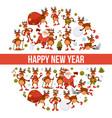 2018 cartoon santa and deer poster or greeting vector image vector image