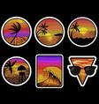 beach sunset retro stickers vector image