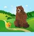 bear and bun kolobok vector image vector image