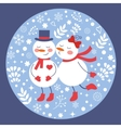 Beautiful Christmas card with two frosties kissing vector image vector image