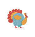 big colorful turkey in flat style isolated on vector image vector image