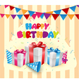 Birthday balloon with box vector image vector image