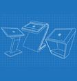blueprint of set of interactive information kiosk vector image vector image